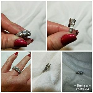 10k white gold filled  white sapphire ring